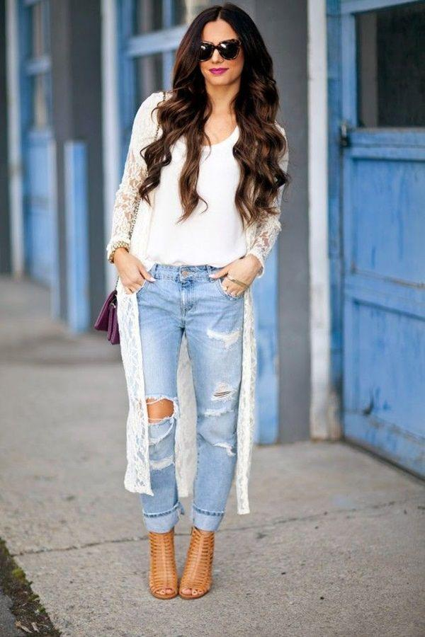 jeans-and-t-shirt-and-long-cardigan-women-summer-outfit | 10 прекрасных идей нарядов весны и лета 2018