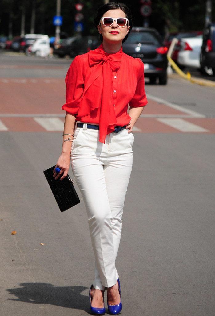 image11-4 | Как стильно носить красные блузки и рубашки летом и осенью 2018: 20 стильных идей