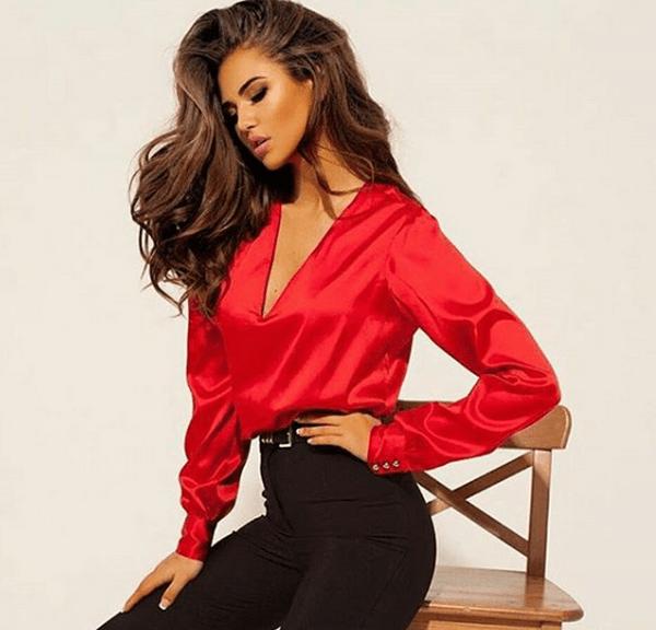 image18-1 | Как стильно носить красные блузки и рубашки летом и осенью 2018: 20 стильных идей
