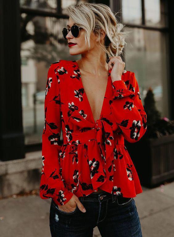 image3-6 | Как стильно носить красные блузки и рубашки летом и осенью 2018: 20 стильных идей