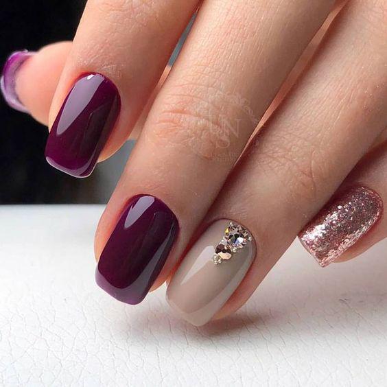 image9-31 | 28 идей бордового маникюра на короткие ногти