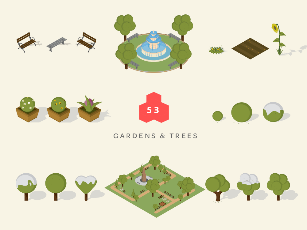 isometric maps gardens and trees