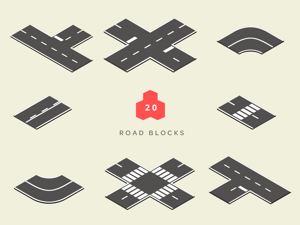 isometric road blocks