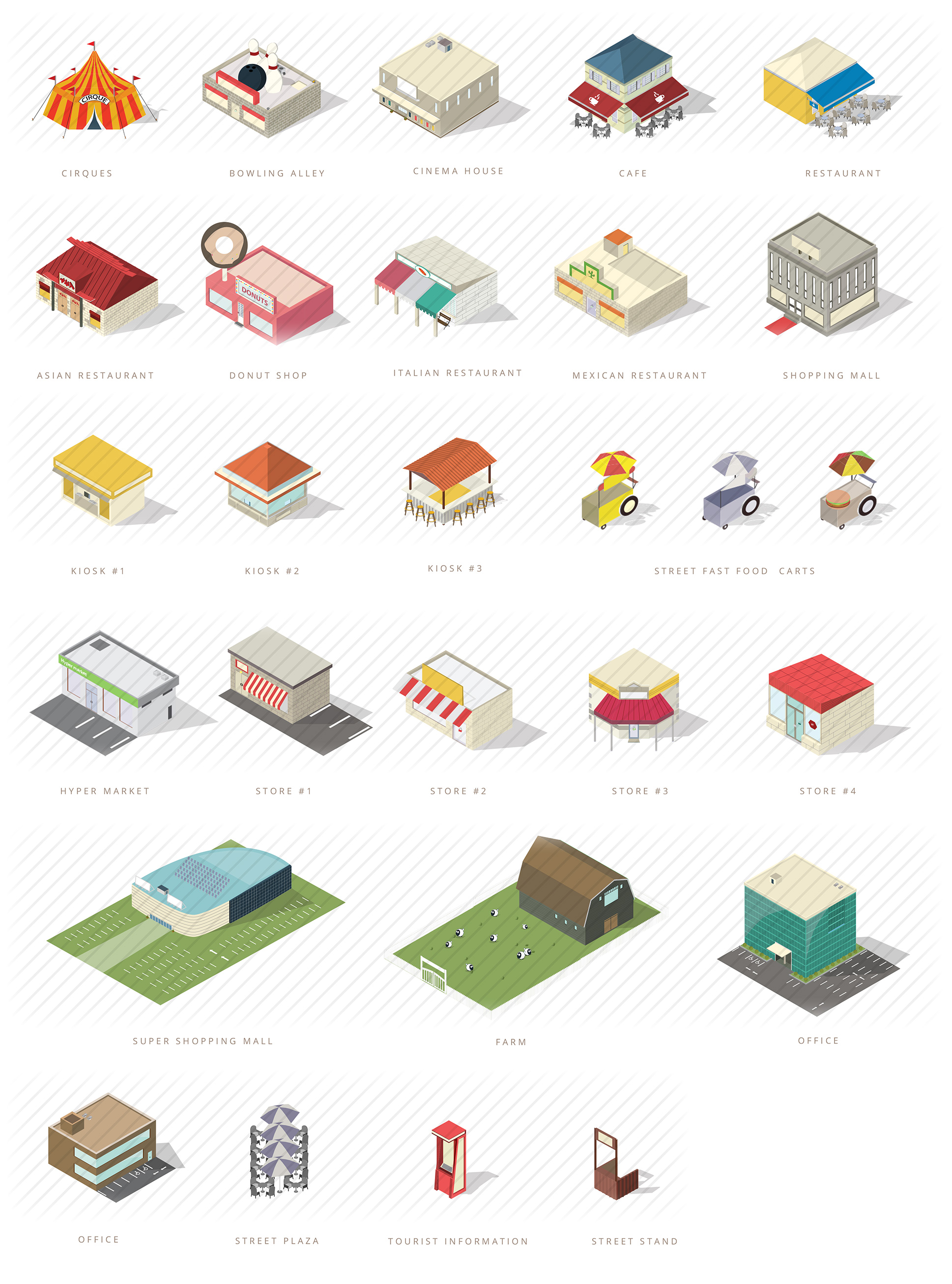 isometric commercial buildings and shops