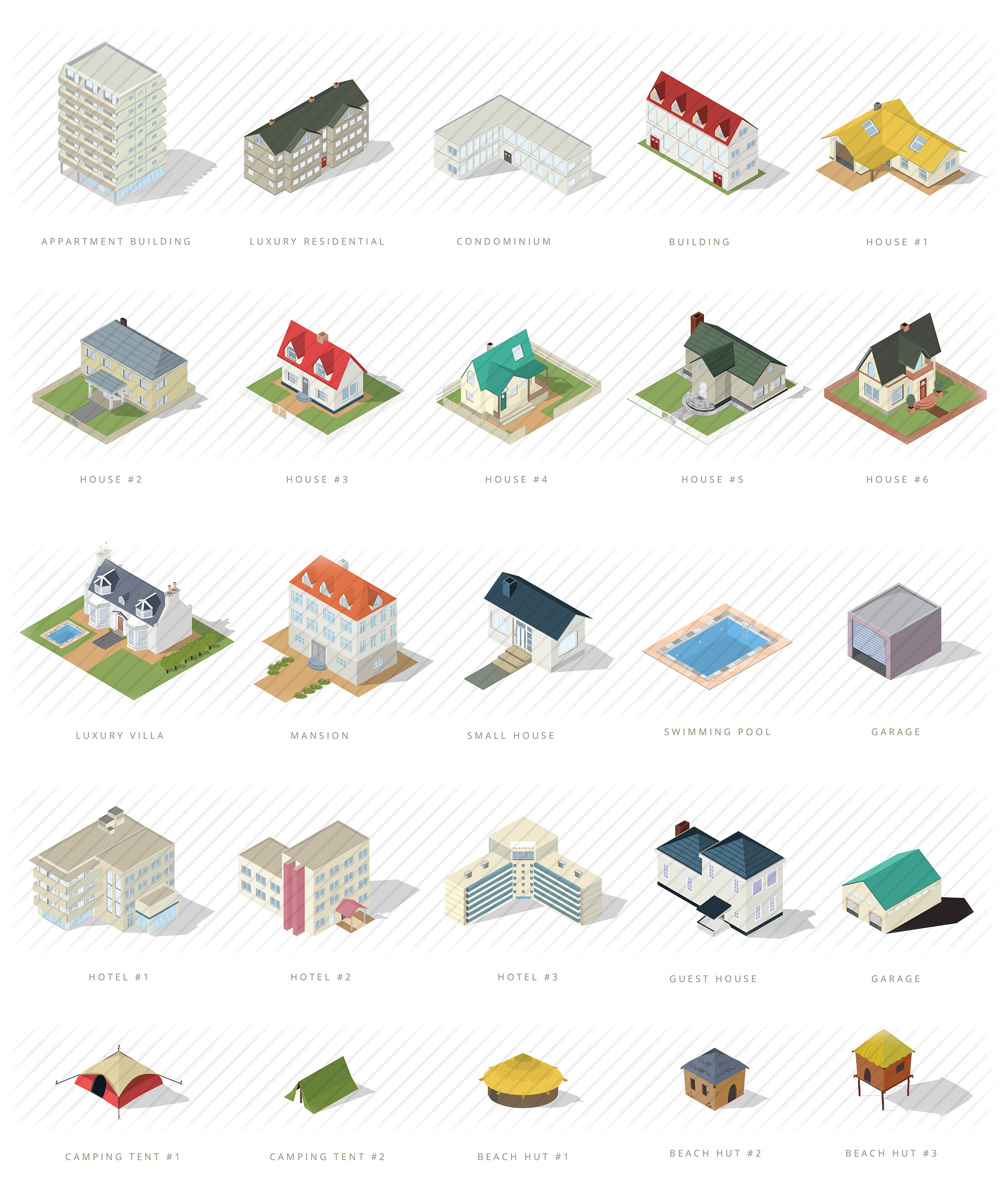 isometric houses and residential buildings