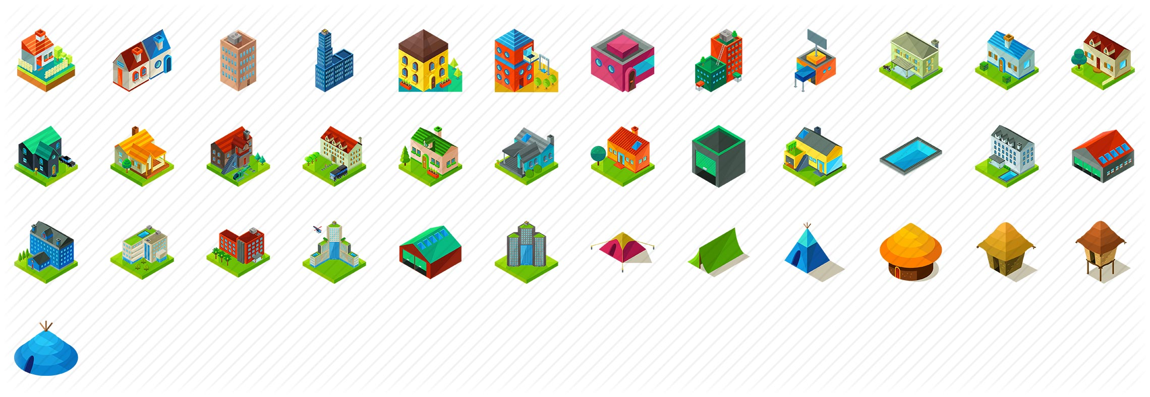 Buildings Elements Isometric Icons