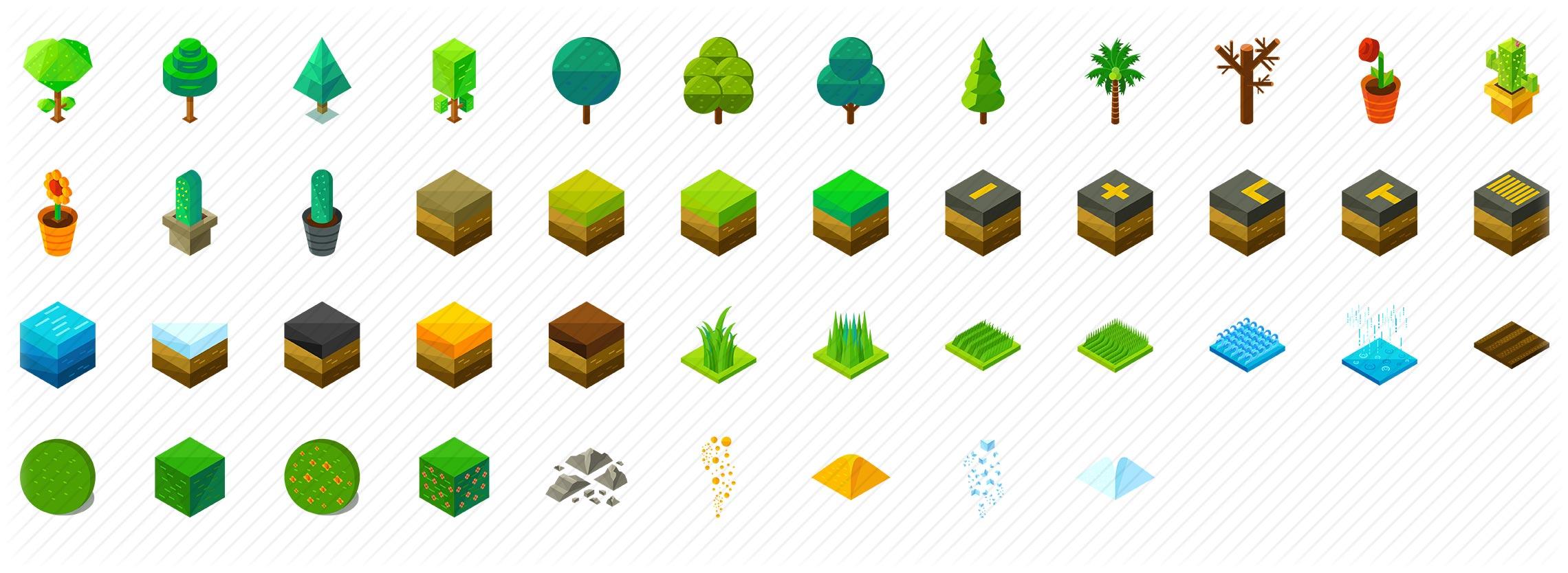 Nature Elements Isometric Icons