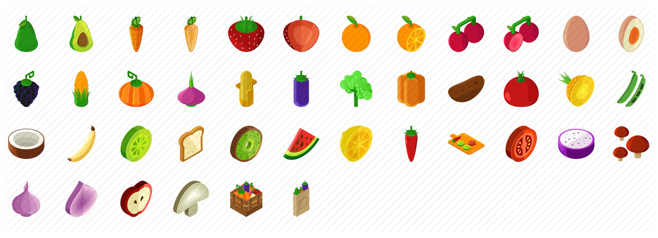 Fruits and Vegetables Isometric Icons