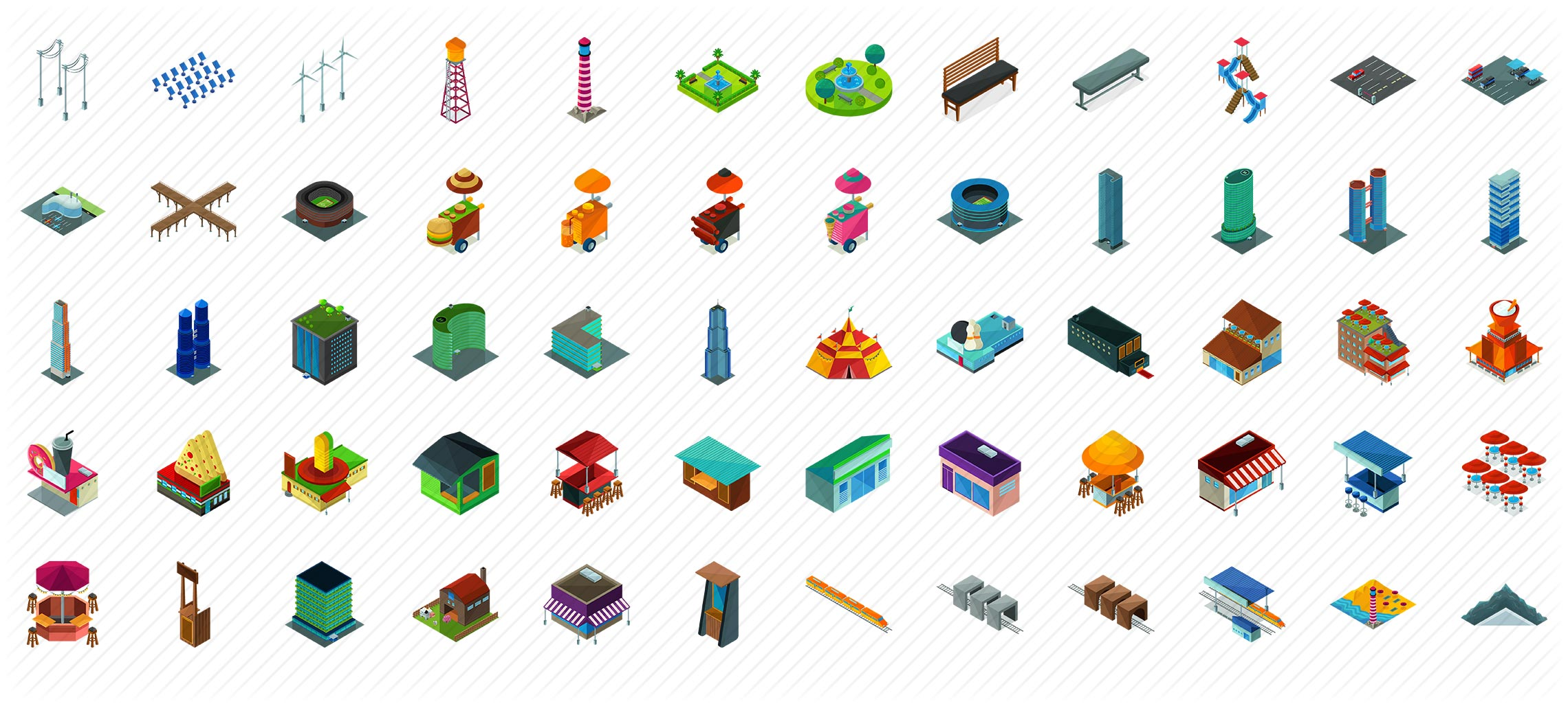Businesses Isometric Icons