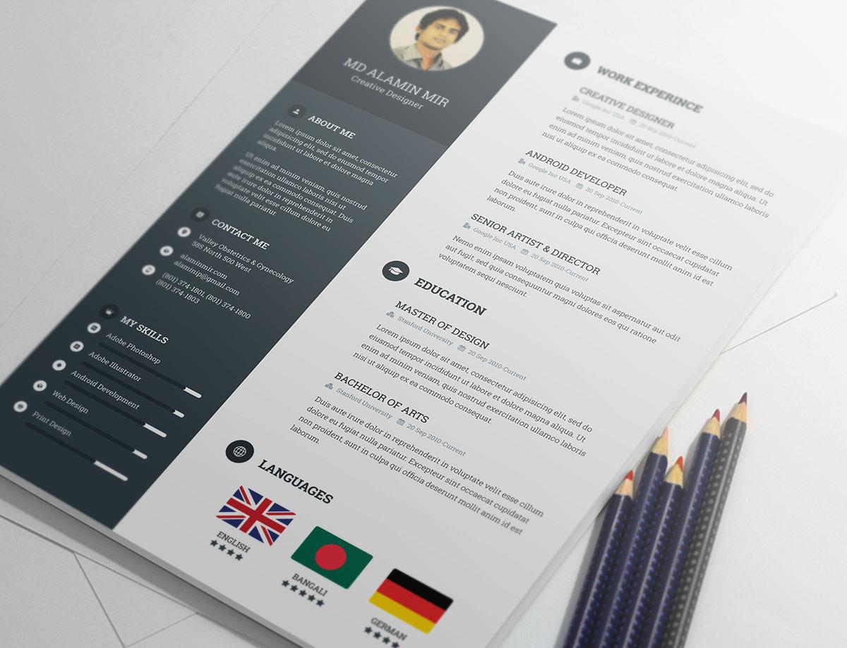 Resume template gratuito de Alamin Mir