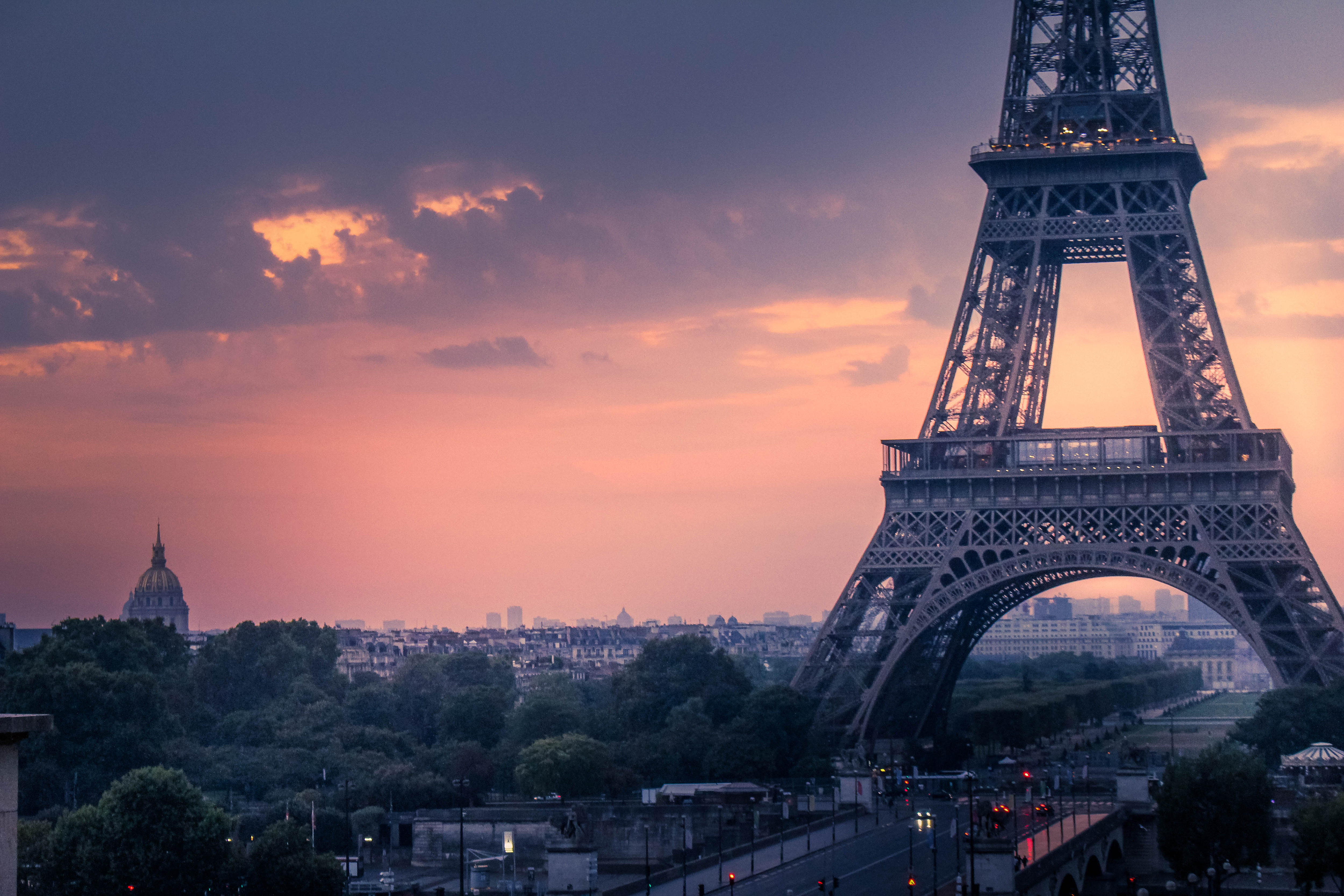 Sunset In Paris France Free Stock Photo