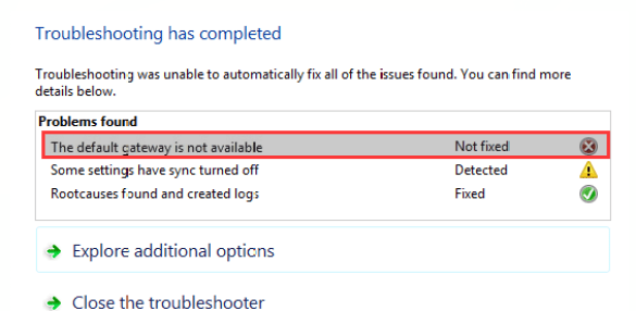 How to fix the default gateway is not available on Windows 10