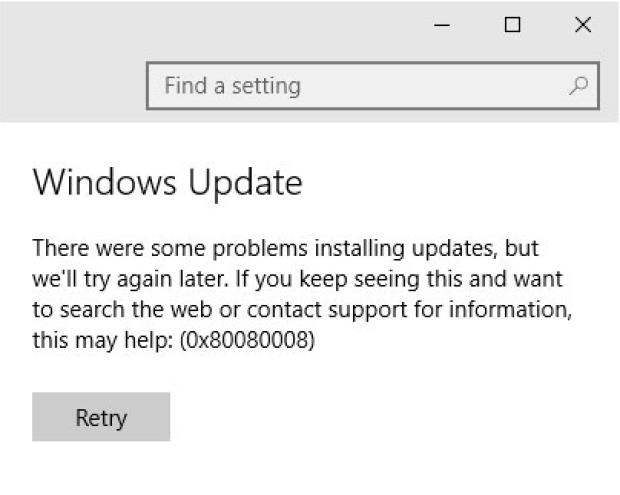 How to fix update error 0x80080008 on Windows 10