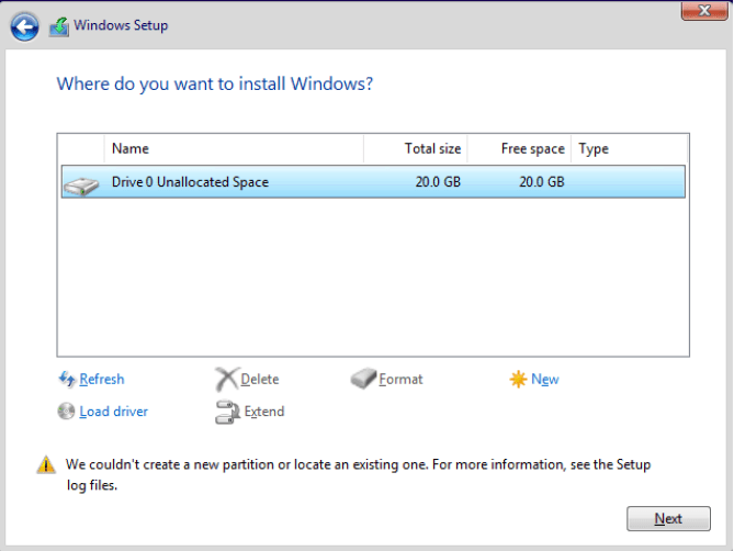 Fixed: We couldn't Create a New Partition Error on Windows 10 - Complete Guide 1