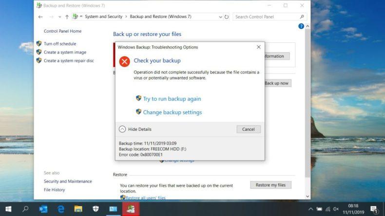 Fixed: Windows Backup Fails with Error Code 0x800700E1 1
