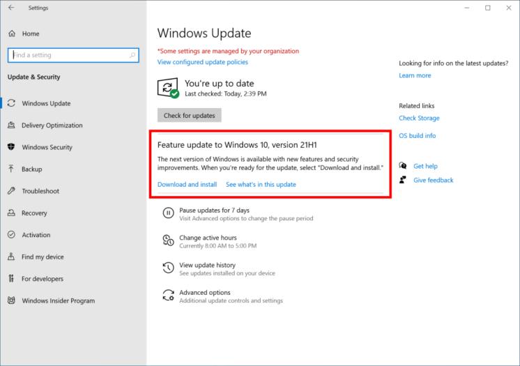 KB5003214 Cumulative Update for Windows 10 21H1, 20H2, and 20H1 3