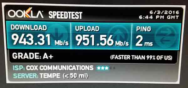Cox Gigablast Ethernet Speed Test