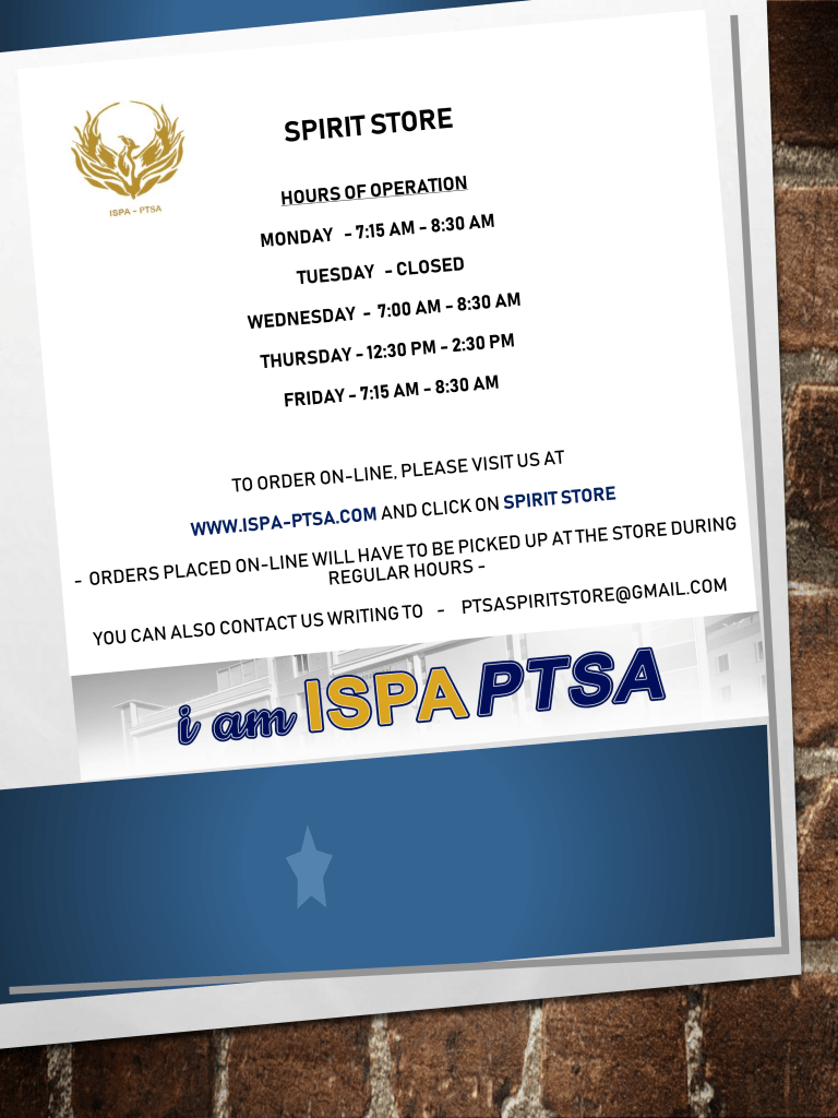 ISPA Hours of Operation for Spirit Store Flyer