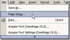 PageSetup MSWord