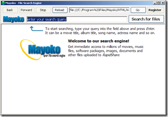 Mayoko, RapidShare Search Engine
