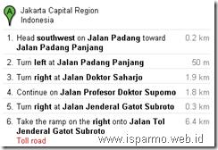 Google Maps rute information