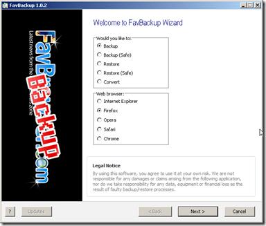 Favbackup, tutorial Backup Browser