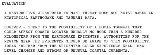 Info Tsunami akibat Gempa Bumi
