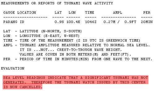 Info potensi tsunami  Gempa Bumi 7,6 SR Sumatra Barat, 30 September 2009