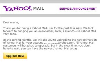 Pemberutahuan Yahoo Mail versi terbaru