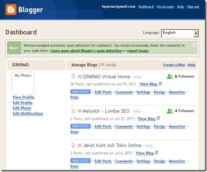 Blogger Dashboard Old