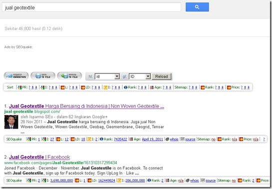 Analisa kompetitor Firefox - SEO Quake