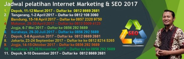 Jadwal Pelatihan SEO Internet Marketing ISPARMO 2017