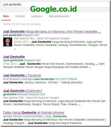 Google.co.id SERP - jual geotextile