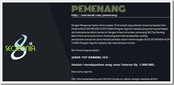Pemenang top ranking seo Acer Iconia kontes 2013