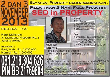 Brosur Pelatihan SEO for Property Jakarta 2-3 Nov 2013