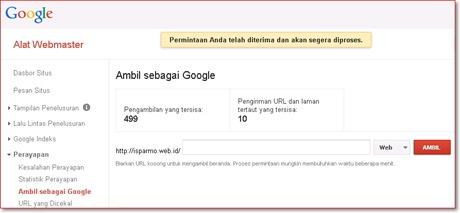 mempercepat indexing Google