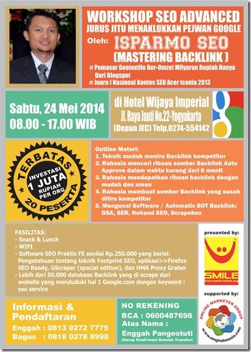 Brosur Workshop SEO Jogja 24 Mei 2014 fix