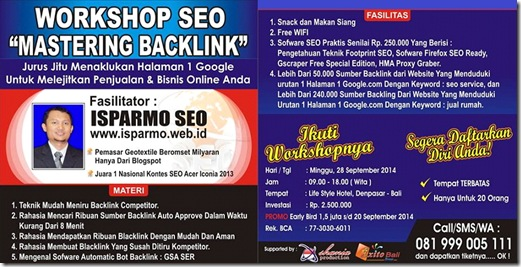 Workshop SEO Bali 28 September 2014 - Mastering Backlink