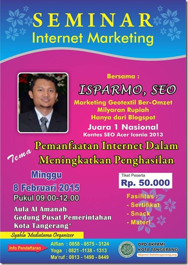 Seminar Internet Marketing Tangerang  2015