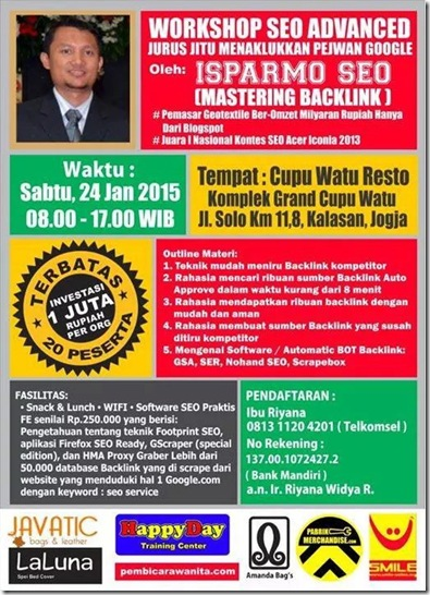 Brosur Workshop SEO Jogja 24 Januari 2015