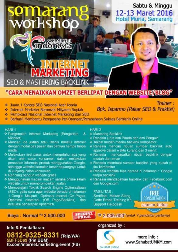 Kursus Pelatihan SEO Internet Marketing Semarang Maret 2016