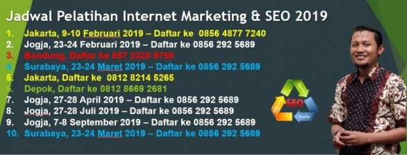 jadwal pelatihan kursus internet digital marketing seo 2019 isparmo