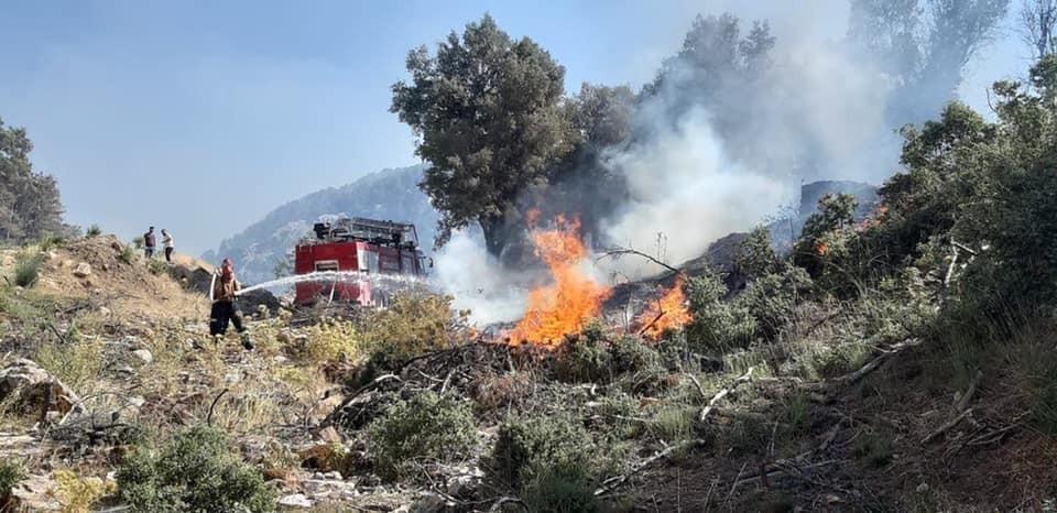 Isparta'da komandolar yangın bölgesinde