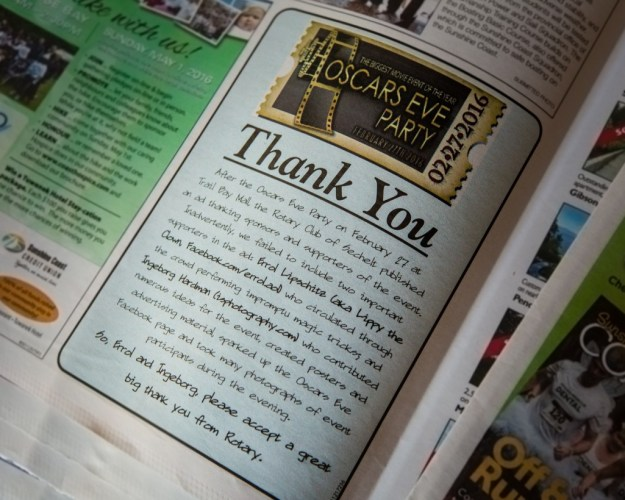 Thank you ad in Coast Reporter for community service