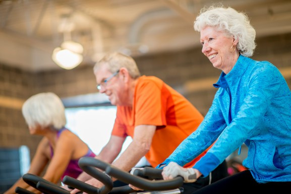 Senior Adults Taking Spin Class