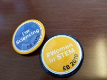 EB 2018 buttons featuring I'm Sciencing and Women in STEM hashtags.