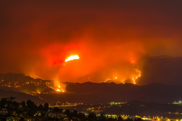 Night long exposure photograph of the Santa Clarita wildfire