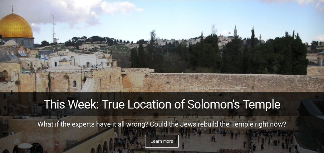 This week on I Spy Radio - The True Location of Solomon's Temple