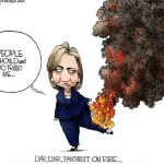 Hillary Clinton liar liar pantsuit on fire