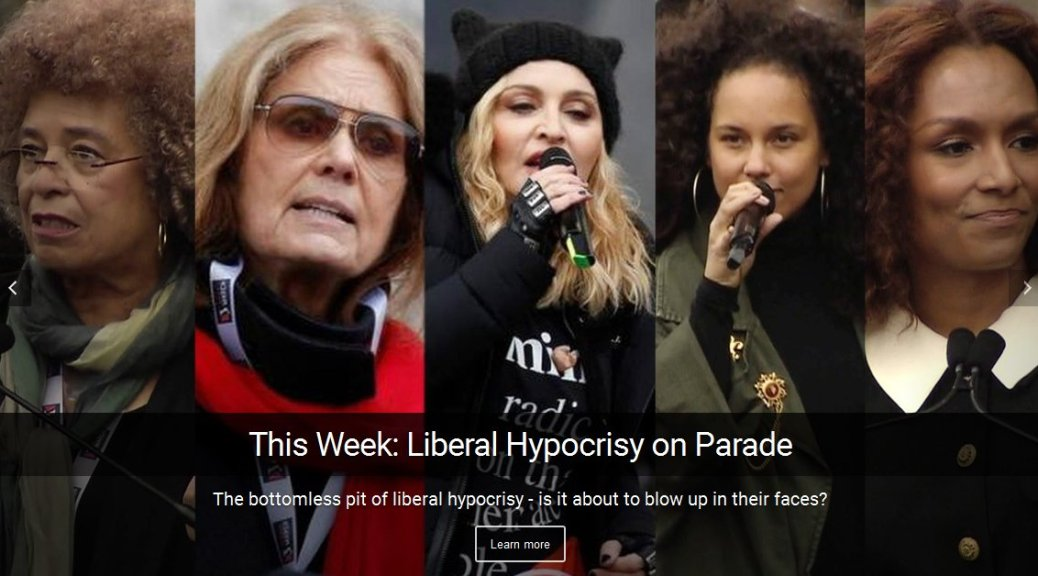 liberal hypocrisy - liberal hypocrites preach intolerance at women's march in Washington DC